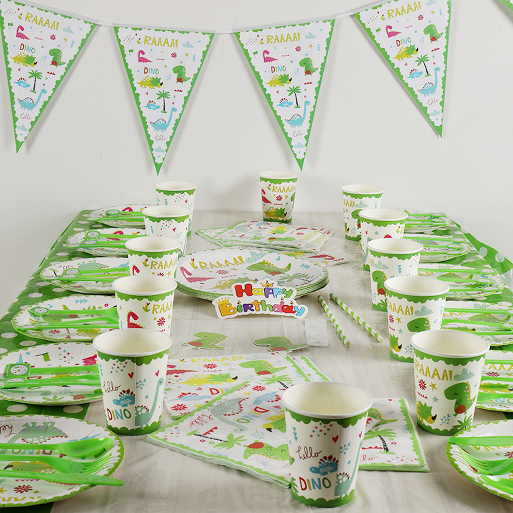 62pcs Party Supplies For Kids Dinosaur Theme Birthday Toys Barty Decoration Tableware Set Plate Cup Straw Flag Tablecover Set