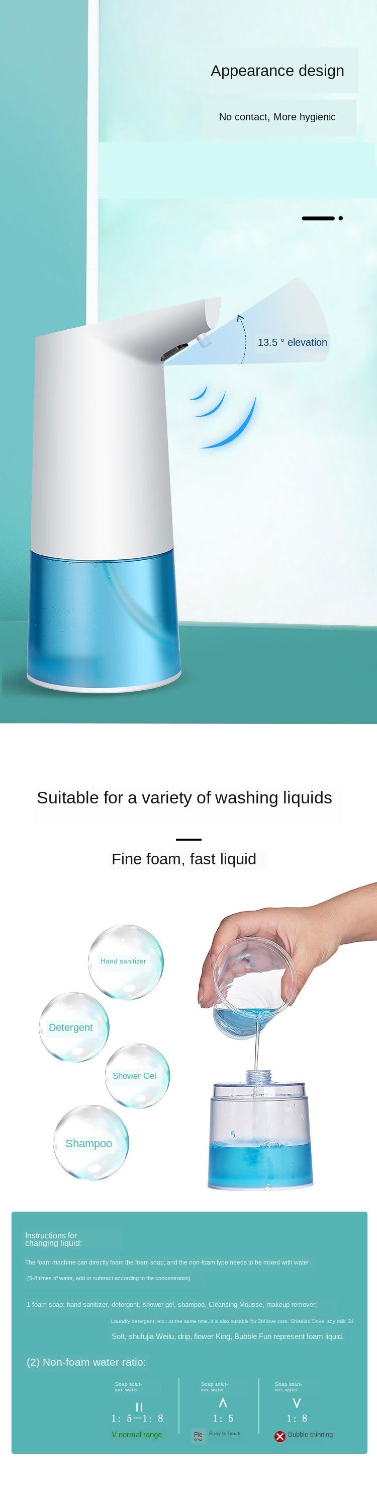 Ha27b2f9664874d9c8189a063de8017c2G Automatic Foam Soap Dispenser Infrared Sensing Foam Soap Dispenser Induction Liquid Soap Dispenser For Bathroom Kitchen Hotel