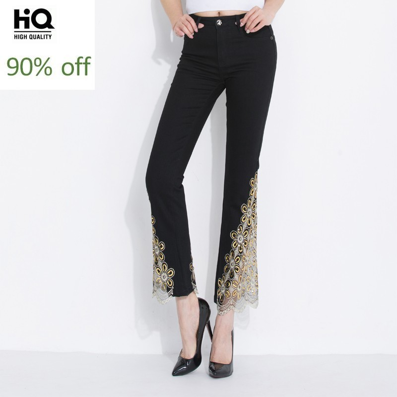 Fashion Thin Stretch Sexy Summer Women Jeans Lace Ruffles Flare Pants Embroidered Skinny Sequined Slimming Ladies Denim Pants