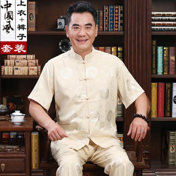 Summer Middle-aged Tang Suit Men Silk Blazer Masculino Short Sleeve Casaco Jaqueta Masculina Buckle Coats Mens Jacket Dad Wear