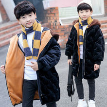 Coat Jackets Padded Parkas Boys Winter New Warm Velvet Thick Gold Cotton 4-15T Plus High-Quality