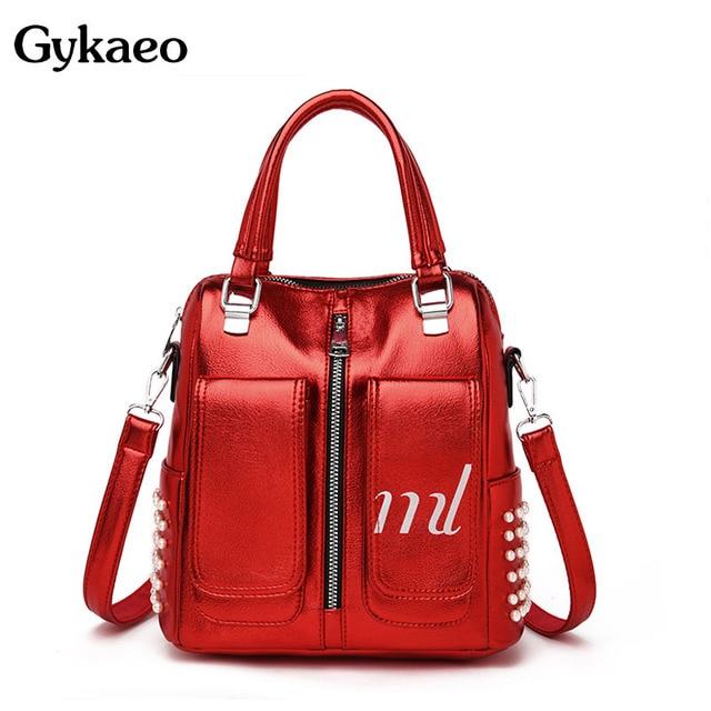 Gykaeo Luxury Handbags Women Bags Designer Candy Colors Tote Bag Ladies Street Fashion Beading Shoulder Bags for Women Handbag