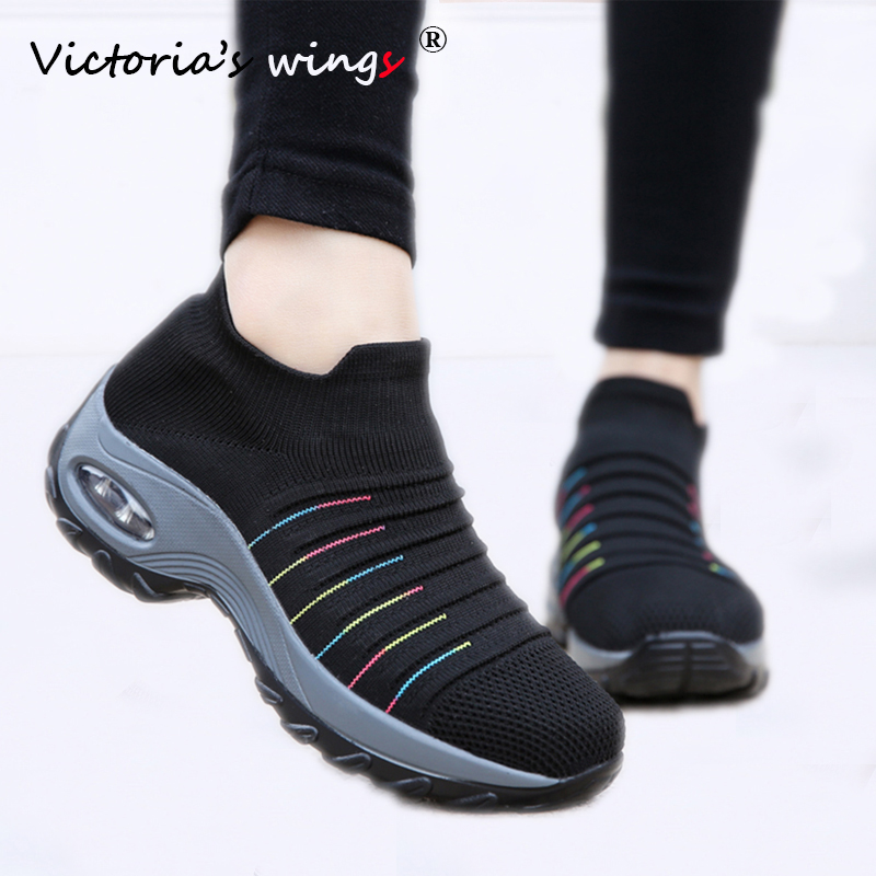 Cheap Victoria's Wings Women Sneakers Shoes 2020 Spring Autumn Slip-on Flat Platform Shoes for Woman Walking Sneakers Mesh Sock Shoes