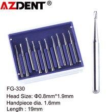 Fraises dentaires en forme de poire FG 330, 10 pièces/paquet, fraises en acier au tungstène haute vitesse, Φ 0, 8mm x 1.9mm