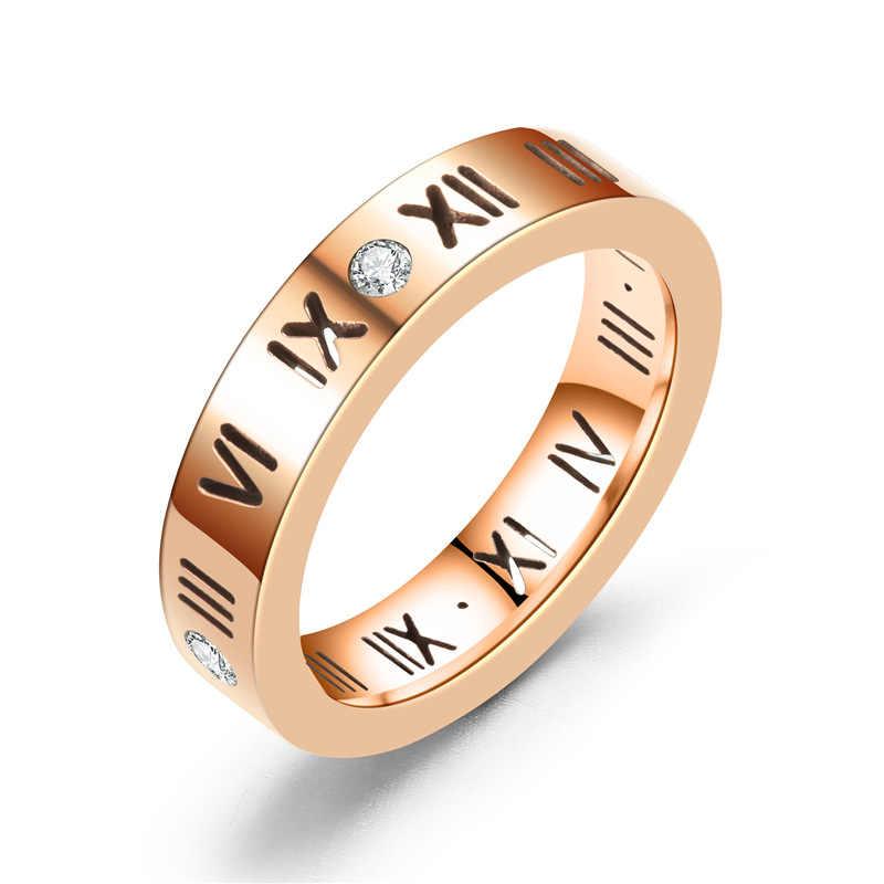 רוז זהב נירוסטה טבעת עם קריסטל לאישה תכשיטי טבעות גברים חתונת הבטחת טבעות נקבה נשים מתנות אירוסין
