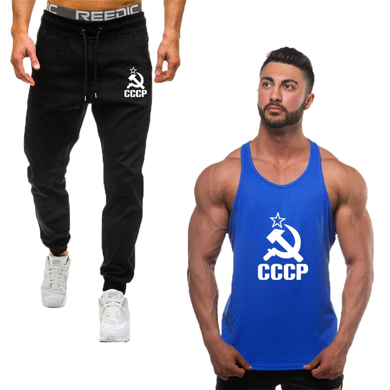 2019 Sport Suit Men Tank Top + Pants Sports Suits Gym Sportswear Mens Autumn Fitness Tracksuits Running Set Jogging Tracksuit