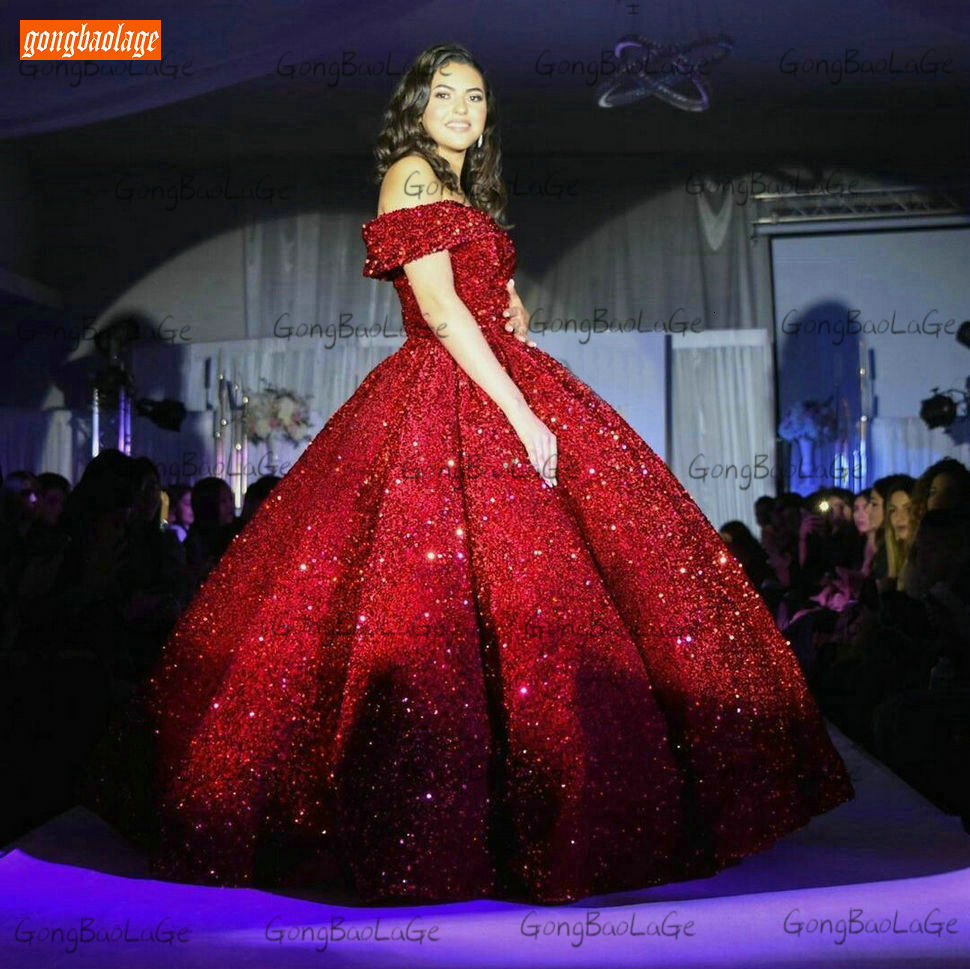 Sparkly Burgundy Evening Dress Long 2020 Off Shoulder Sequin Lace Up Ball Gown Formal Dresses Reflective Pageant Evening Gowns 4