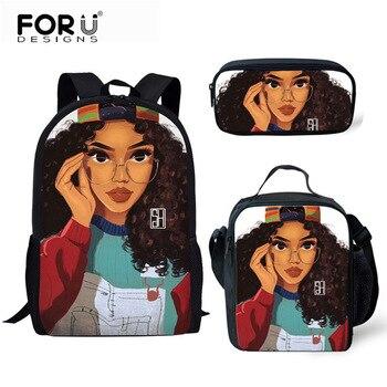 FORUDESIGNS Girls School Bags African Black Girls Hairstyle School Backpack Set Scool Bag For Girl Kids Girl Backpack Junior Bag 38