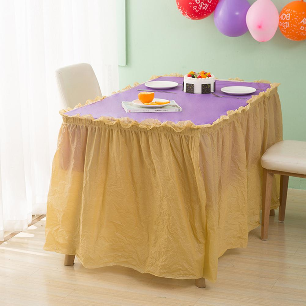 PEVA Disposal Premium Plastic Tulle Table Skirt Sweet Candy Party Tablecloth Skirts For Wedding Birthday Baby Shower Decorations