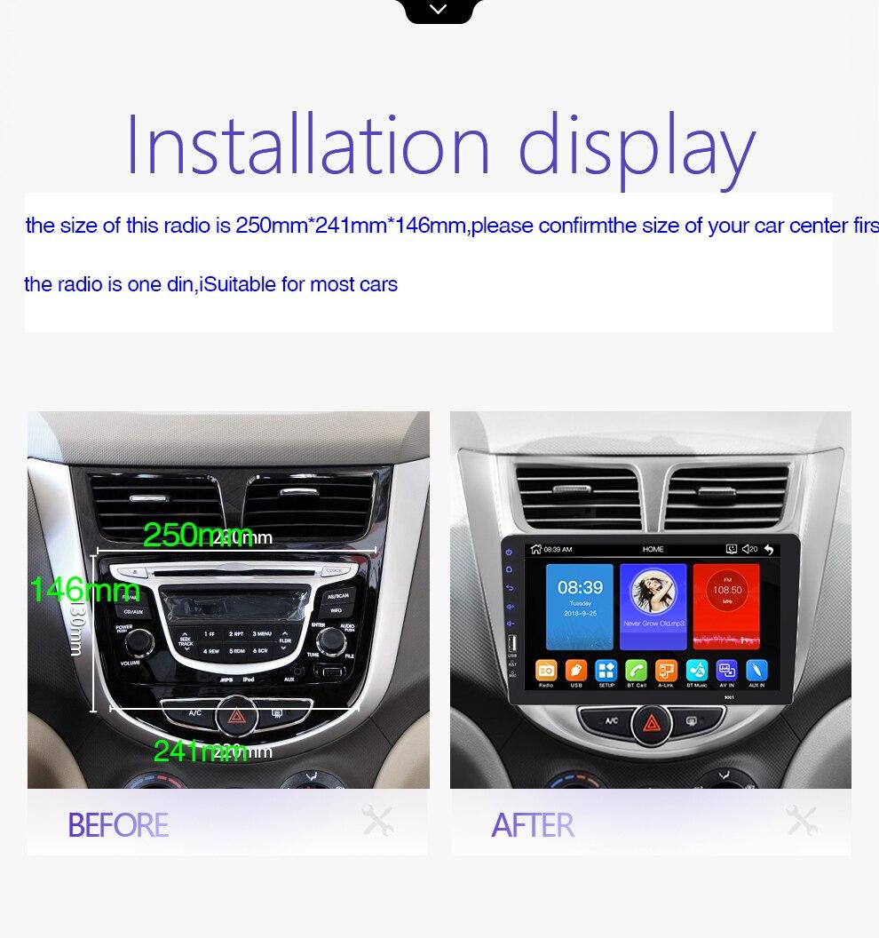 9''10. 1 pollici car multimedia player 1 din car radio Bluetooth USB della macchina fotografica di inverso MP5 Lettore Autoradio NESSUN android - 2