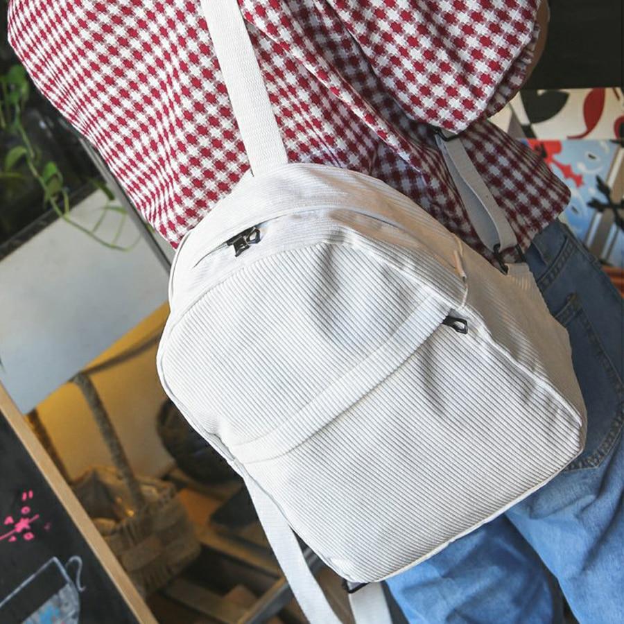 2020 Backpack Women Fashion School Bags Soft Fabric Travel Backpack Corduroy Bookbag For Teenage Girls Striped Small Backpack