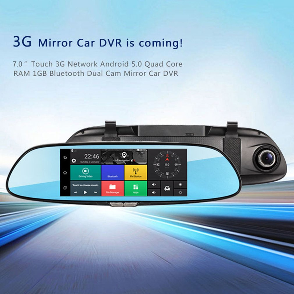 H10 Car DVR 3G Rearview Mirror Video Recorder 7 Inch Touch Screen 1080 FHD Dual Camera Hand-free FM Transmission