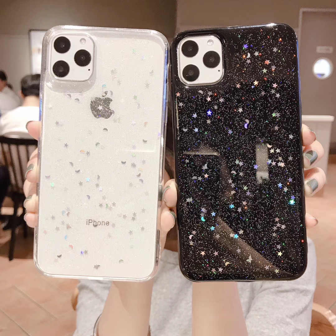 Bling Glitter Case สำหรับ iPhone 11 Pro 10 X XS XR สูงสุด 6 6 S 7 8 Plus SE 5 5 Star Moon Sparkle Sequins นุ่มอีพ็อกซี่ TPU COVER