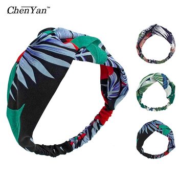 Chen Yan Bohemian Floral Headband Scrunchie Summer Retro Cross Hairbands Turban leaf Elastic Headbands Women Headwear FD