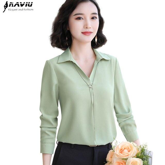 Blusa de chifón informal con manga larga para otoño, camisa con fruta verde para mujer, cuello de pico, para oficina, trabajo de negocios