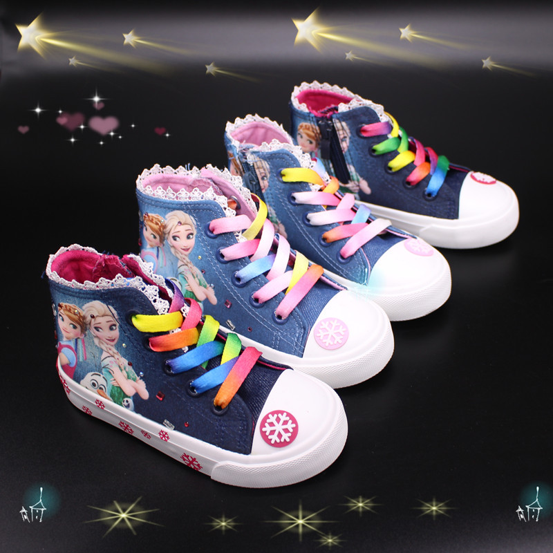 Spring 2020 New Boutique Mid-ribbon Denim Children's Shoes Cartoon Princess Canvas Shoes