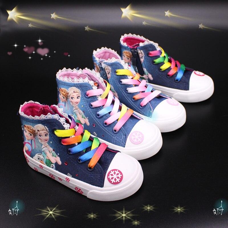 Spring 2020 New Boutique Mid-ribbon Denim Children's Shoes Cartoon Princess Canvas Shoes