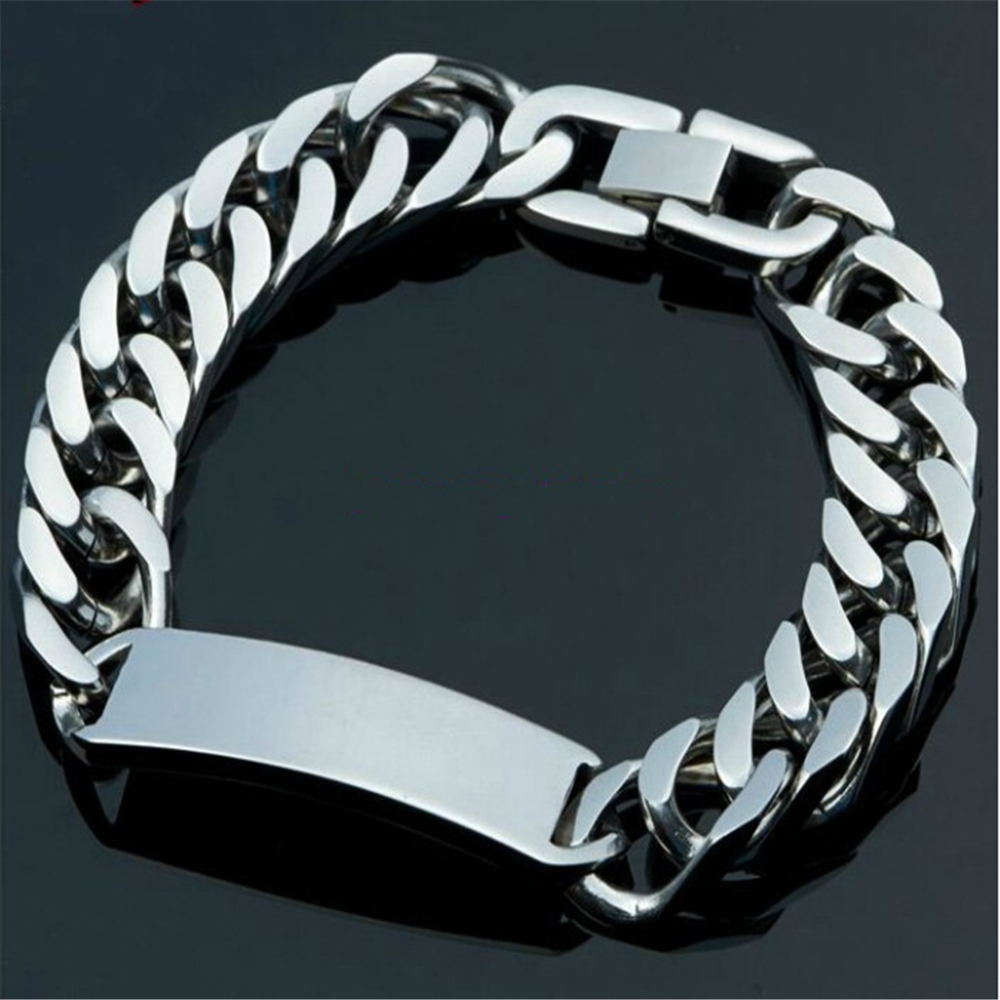 "8.66"" High Polished Silver Bracelet Stainless Steel Mens ID Link Bracelet Double Cuban Curb Chain Heavy Cool Men's Jewelry"