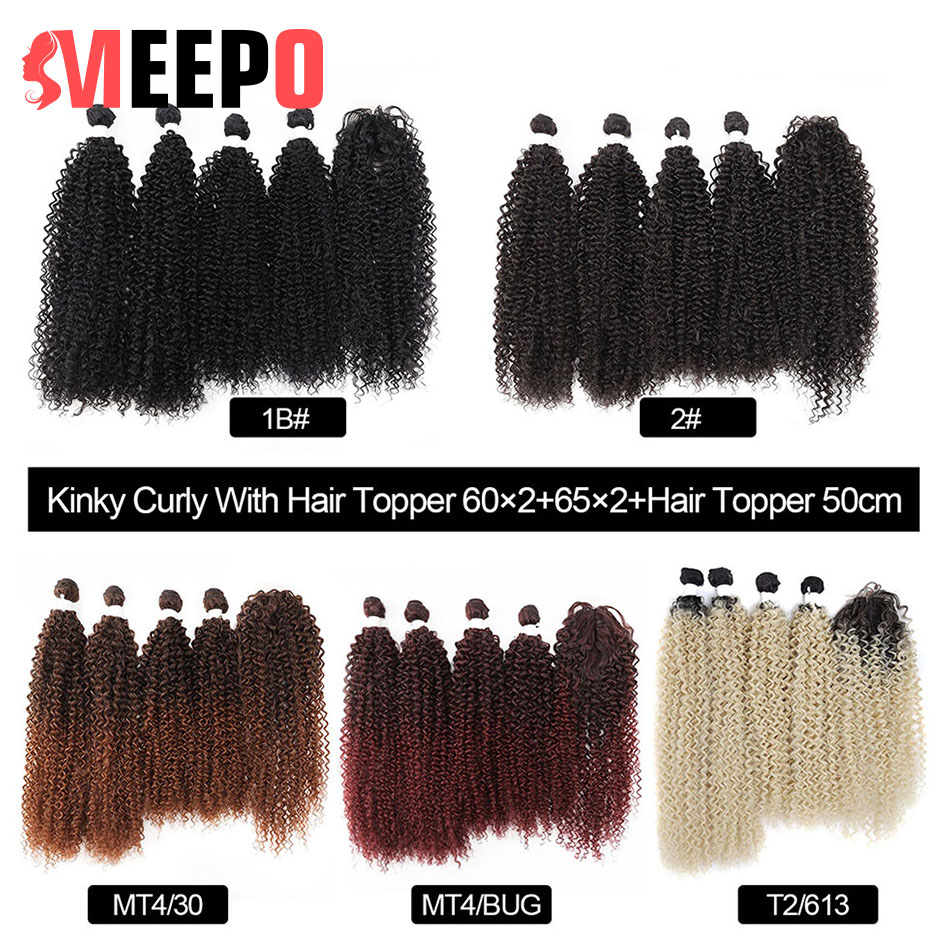 Meepo Synthetic Hair Weave 5Pieces/lot Kinky Curly Hair Bundles (24