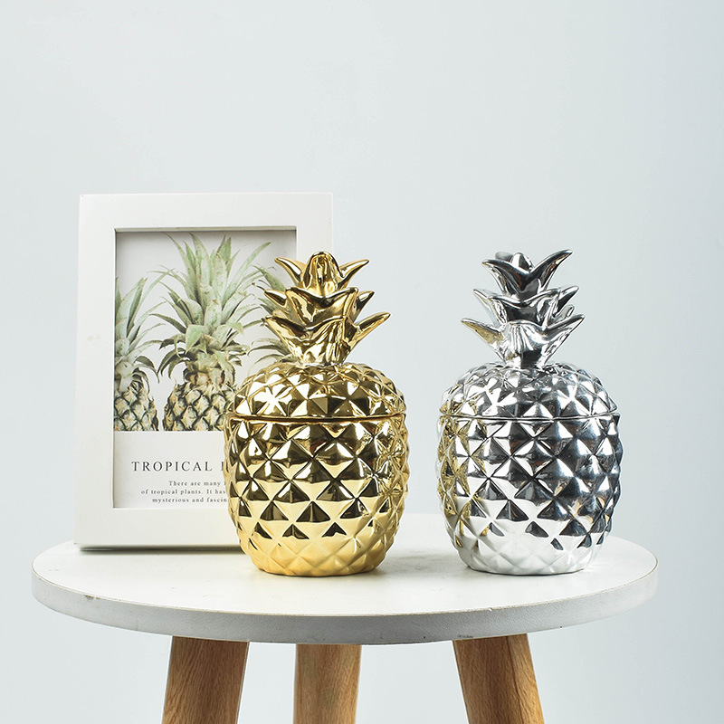 Ceramic Pineapple Storage Tank Aromatherapy Candle Storage Container Dustproof Cover Sugar Crafts Desktop Ceramic Jar And Lid