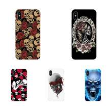 Soft TPU Phone Coque Fashion Skull Art For Apple iPhone 4 4S 5 5C 5S SE 6 6S 7 8 11 Plus Pro X XS Max XR(China)