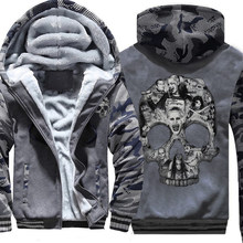 Men Fleece Hoodie zipper Hooded Warm Sweatshirt Camouflage Customized Skeleton Skulls Multicolor cotton Sportswear dropship(China)