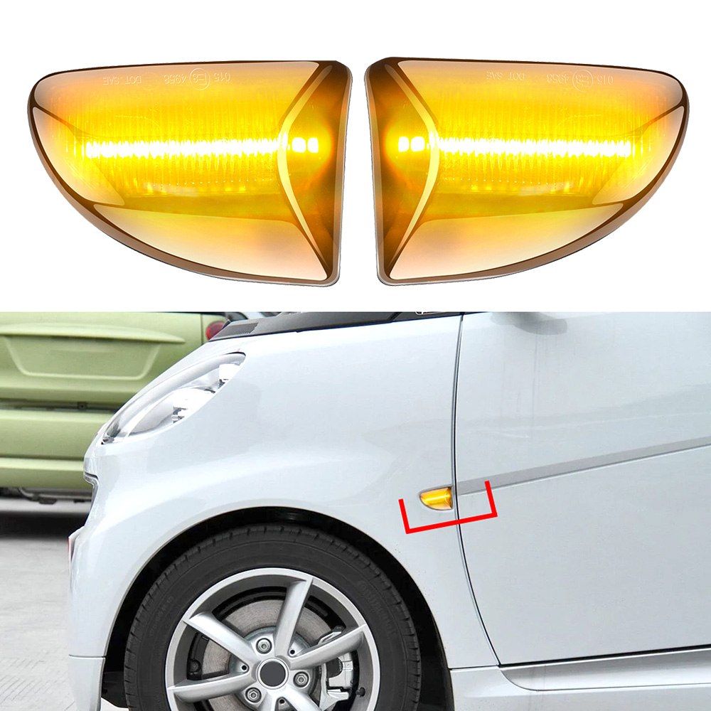 2pcs Dynamic Marker Light LED Side Flowing Yellow Turn Signal Light For Mercedes Benz Smart Fortwo W451 Coupe Cabrio Accessories