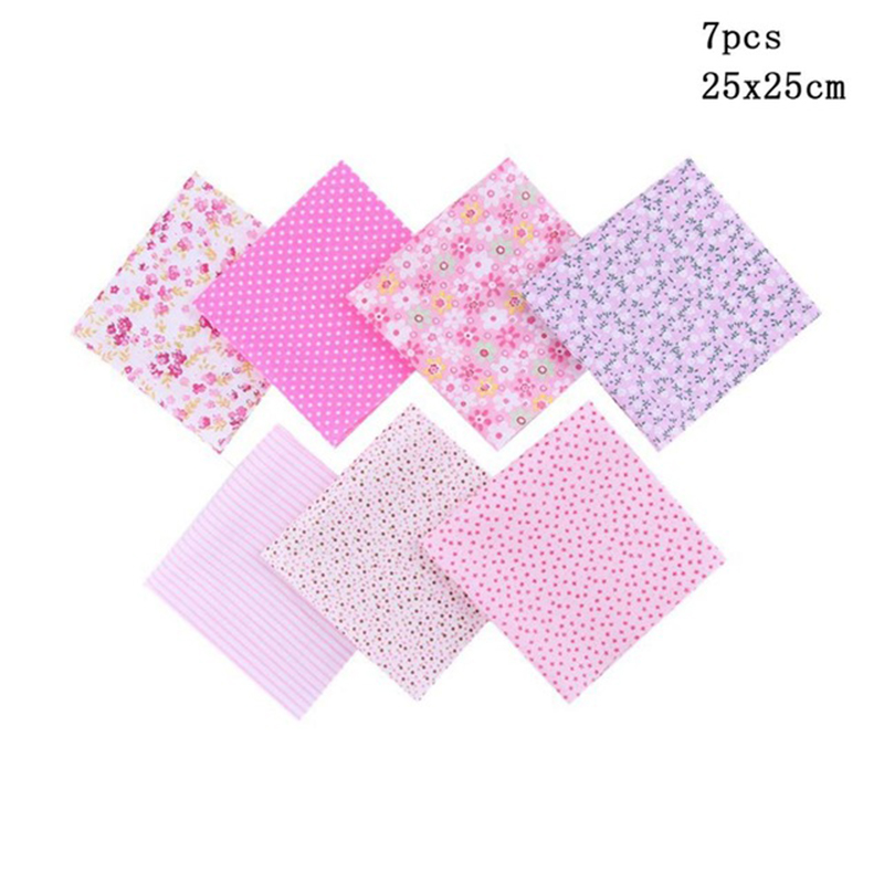 PromoteCloth Quilting-Fabric for Patchwork Needlework DIY Dolls Handmade-Accessories 7pcs 25x25cm'