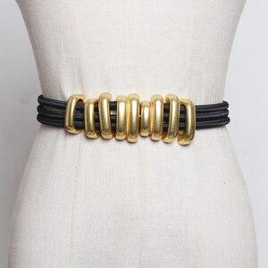 Image 1 - Di modo Pieghe Delle Donne del Metallo Cinture di Moda Femme Cummerbunds Elastici di Colore Solido Accessary