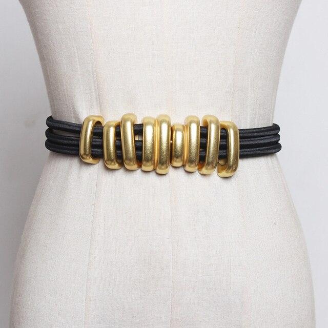 Di modo Pieghe Delle Donne del Metallo Cinture di Moda Femme Cummerbunds Elastici di Colore Solido Accessary