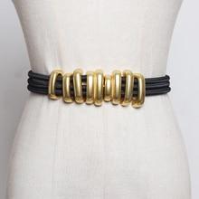 Fashion Folds Women Metal Belts Fashion Femme Elastic Cummerbunds Solid Color Accessary