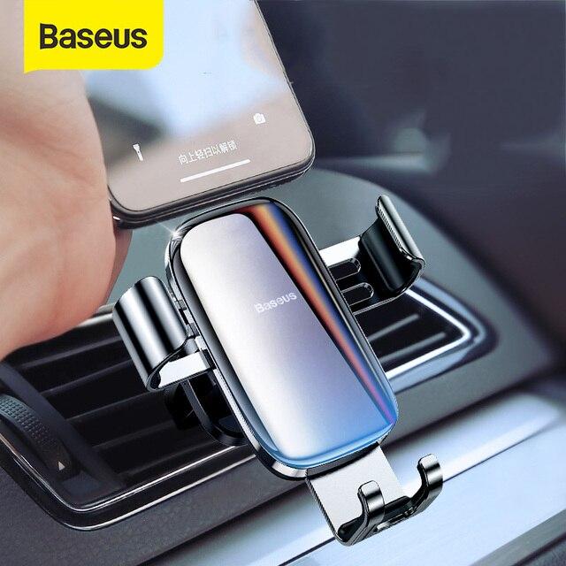 Baseus מתכת מכונית מחזיק טלפון 360 תואר טלפון נייד מחזיק רכב אוויר Vent הר קליפ Stand עבור טלפון חכם הכבידה סוגר