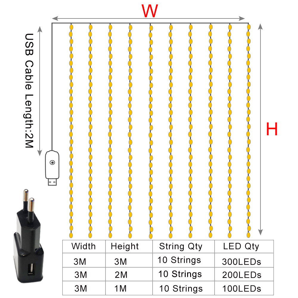 Garland Curtain 3Mx3M Fairy Lights Christmas Lights Indoor 3Mx1M Festoon LED Light Garland LED Christmas Decorations for Home 5