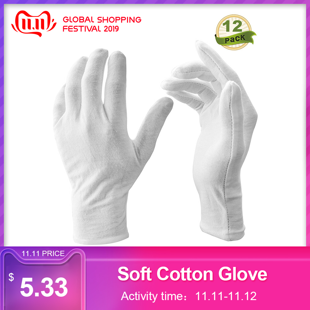 12 Pairs/Lot White Soft Cotton Stretchable Lining Glove Ceremonial Gloves For Male Female Serving/Waiters/Drivers Gloves