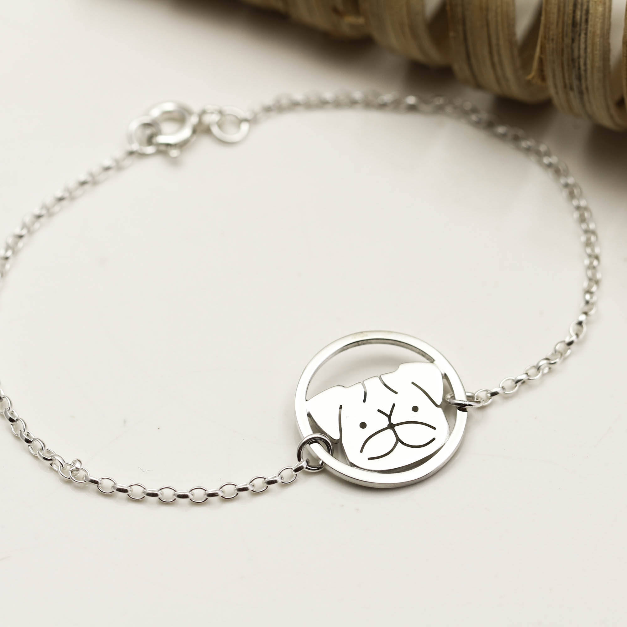 Pug <font><b>Bracelet</b></font> <font><b>Dog</b></font> Animal Jewellery Lover Gift For Women image