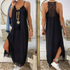 Sexy Black Lace Patchwork Strap Maxi Dress V Neck Sleeveless Side Split Women Summer Dresses Casual Beach Dress Loose Robe Femme 1