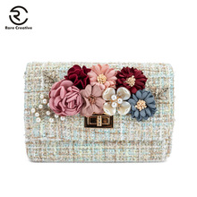 RARE CREATIVE Fashion Flowers Flap Bags Luxury Brand Women Designer Vintage Classic Shoulder Bag Pearl For Girls HM6018