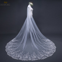 Long Cathedral Wedding Veils with Comb Lace One Layer Accessoire Mariage Hot Bride Veil Mantilla De Novia