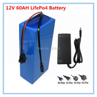 Lifepo4 12v 60ah battery 12.8v 60Ah lithium for 360W night market light bulb fishing Monitoring equipment +5A charger