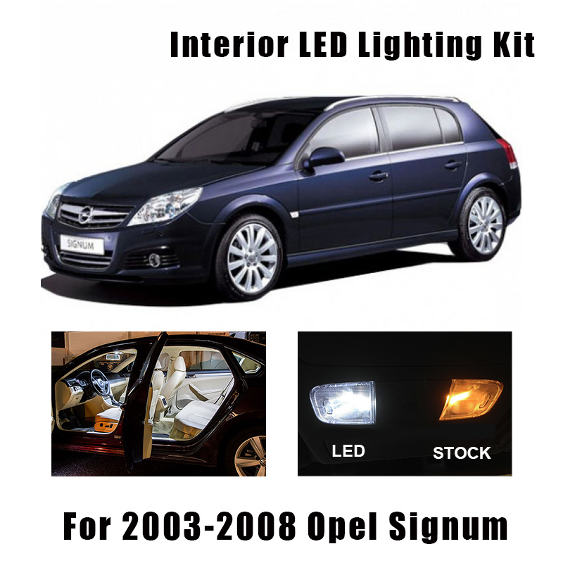 14pcs White Error Free Car LED Interior Light Kit Map Dome Lamp Fit For 2003-2008 Opel Signum Cargo Door License Plate Light