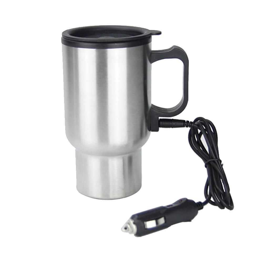 Tasse tasse à café grande capacité argent monté sur véhicule prise facile voyage universel acier inoxydable 12V Portable thermique isolé
