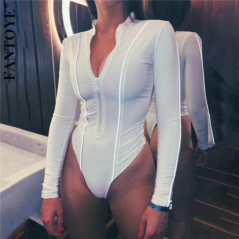 FANTOYE V-Neck Reflective Striped Women's Bodysuit Autumn Fashion Long Sleeve Sexy Skinny Body Tops Elastic Rompers Jumpsuits