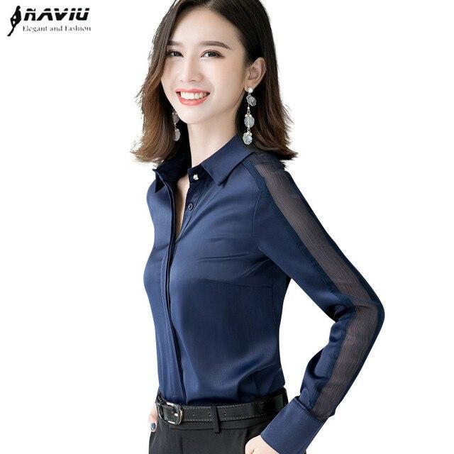 Moda feminina camisa nova primavera outono temperamento manga longa formal magro cetim blusas escritório senhoras plus size trabalho topos