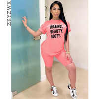 ZKYZWX Two Piece Set Tracksuit Women Clother Summer Outfits Letter Print Top Biker Shorts Sweat SuitsLounge Wear Matching Sets