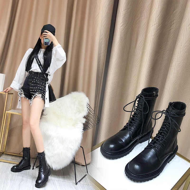 Botas mujer 2019 zapatos blancos informales botas Martin con plataforma para mujer marca de moda botas negras para niñas atado
