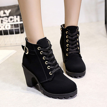 CXJYWMJL Women Ankle Boots High Heels Autumn Wedges Pumps Thick Heel Booties Large Size Boots Female Martin Boots 6857