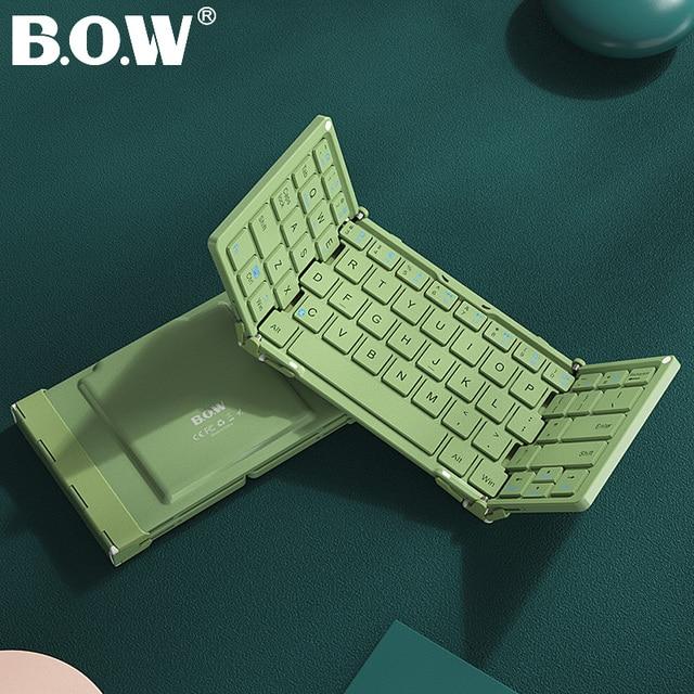 B.O.W Mini  Bluetooth Keyboard  Foldable, Folding  Aluminium case for iOS, Android, Windows, PC,Tablets and Smartphone