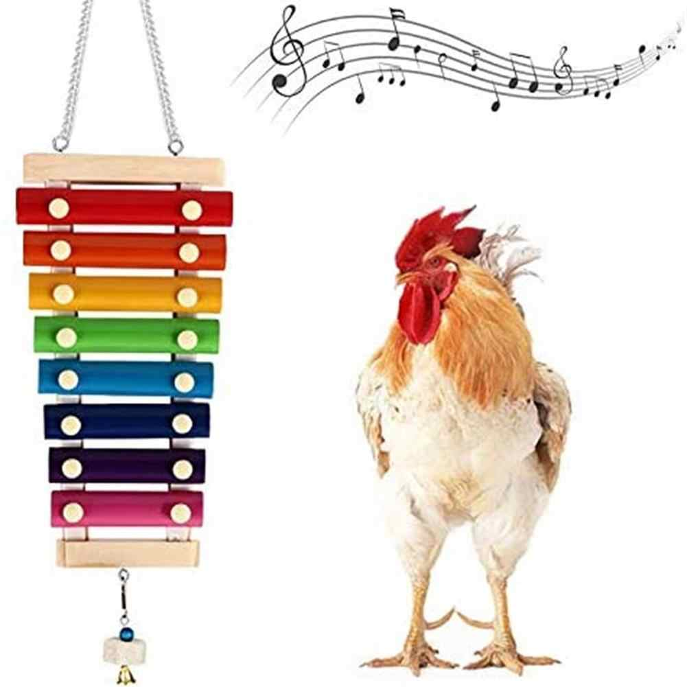 MiK Hanging Chicken Sound Toys Hens Rooster Pecking Xylophone Toy Suspensible Wooden Coop Decoration
