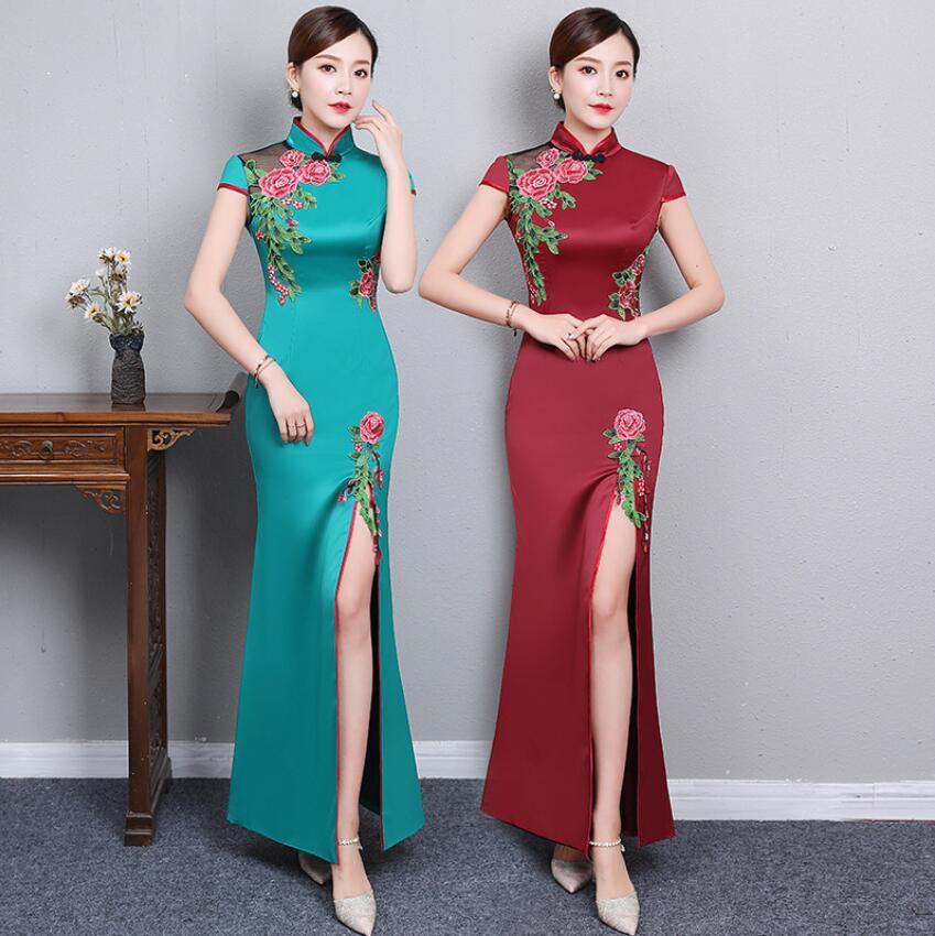 Old Shanghai Oversized Evening Party Long Cheongsam Vintage Chinese Formal Dress Oriental Woman Elegant Qipao
