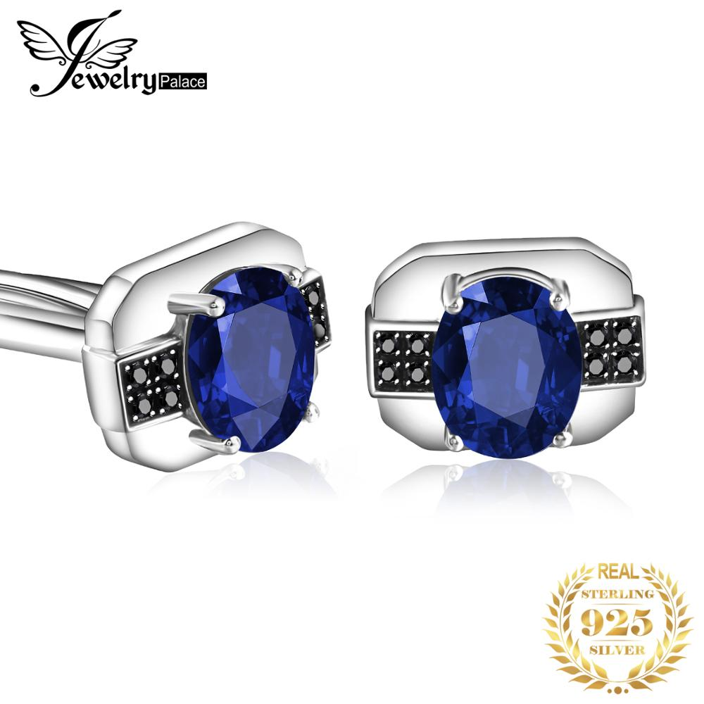 Jewelrypalace Men's Created Sapphire Black Spinel Anniversary Engagement Wedding Cufflinks 925 Sterling Silver